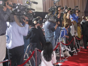 A myriad of TV crews and reporters waited anxiously for Tom Cruise and Bryan Singer to enter the premiere