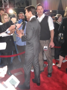 Tom Cruise speaking to the jam packed press line at the premiere.