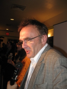 Award winning director Danny Boyle being interviewed on the red carpet