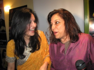 Co-director Loveleen Tandan and acclaimed movie director Mira Nair share a joke at the NY premiere.