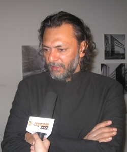 "Acclaimed filmmaker Reykesh OmPrakash Mehra being interviewed at this MoMa premire of film ""Delhi 6""."
