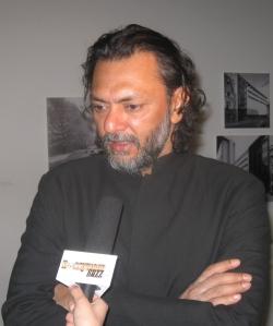 "Acclaimed filmmaker Reykesh OmPrakash Mehra being interviewed at this MoMa premire of film ""Delhi 6""."