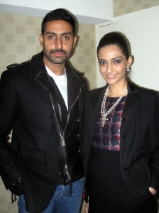 "Abhishek Bachchan with the gorgeous Sonam Kapoor, co star of the film ""Delhi 6"""