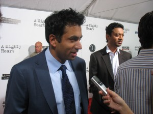 Kal Penn being interviewed on the red carpet in NY with Indian actor Irrfan Khan