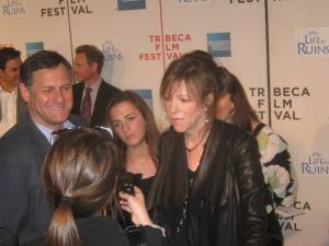 Co-Founder of The Tribeca Film Festival Jane Rosenthal talking to the press