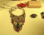 Striking Simla beaded necklace by designer Matthew Williamson on display during Fashion Week.