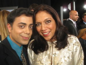 Ravi Yande and Mira Nair pose for The Ravi Report