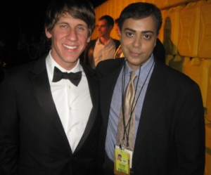 Ravi Yande poses with Foursquare co-founder Dennis Crowley