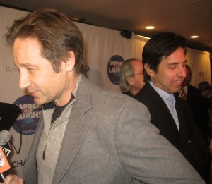 Actor David Duchovny and comedian Ray Romano speaking to the press