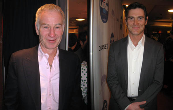 Tennis legend John McEnroe and multifaceted actor Billy Crudup pose for The Ravi Report