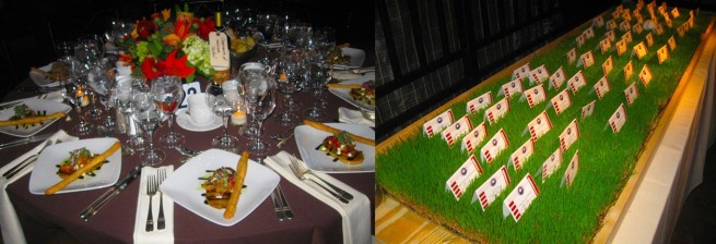 "Extravagant dinner decor and name tags given from ""home field"" were the talk of the event!"