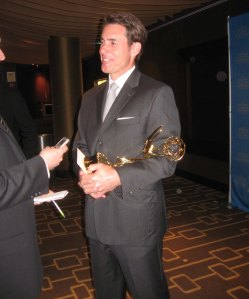 Emmy winning reporter Jeff Verducci speaking to the press backstage