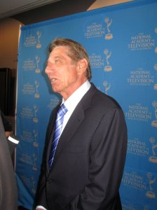 NFL legend Joe Namath being interviewed on the red carpet