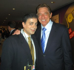 Joe Namath poses with Ravi Yande at the NY Sports Emmys