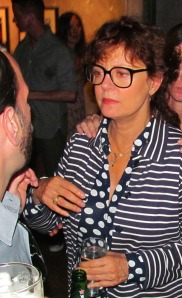 Academy Award winning STUNNING actress Susan Sarandon chatting with party guests