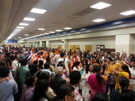 Guests danced and played Indian drums as the procession to build Lord Ganesh goodbye began