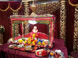 The hand made Ganesh portable temple that my dad made and sets up every year for the celebration