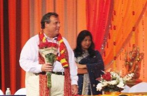 Governor Christie being thanks by the Indian community for his hard work with Dr. Kulkarni in the background.