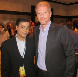 Noah Emmerich poses with Ravi Yande at the Paley Media Center, NY