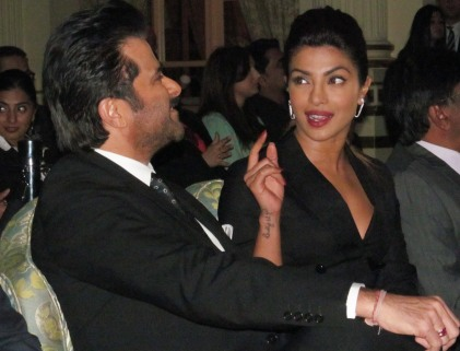 Kapoor and Chopra chatting before the press conference