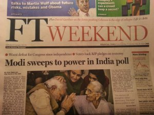 The Financial Times shows Modi seeking blessings from is 95 year old mother after winning the election as the cover story