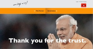 Prime Minister Narendra Modi thanking his supporters on his home page the day he won the elections