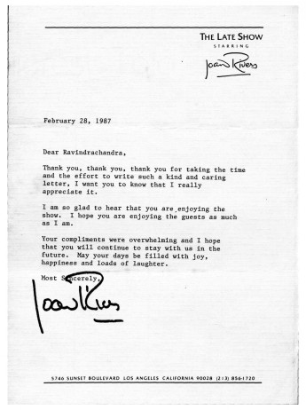 Joan Rivers responded to my letter in 1987 about her talk show