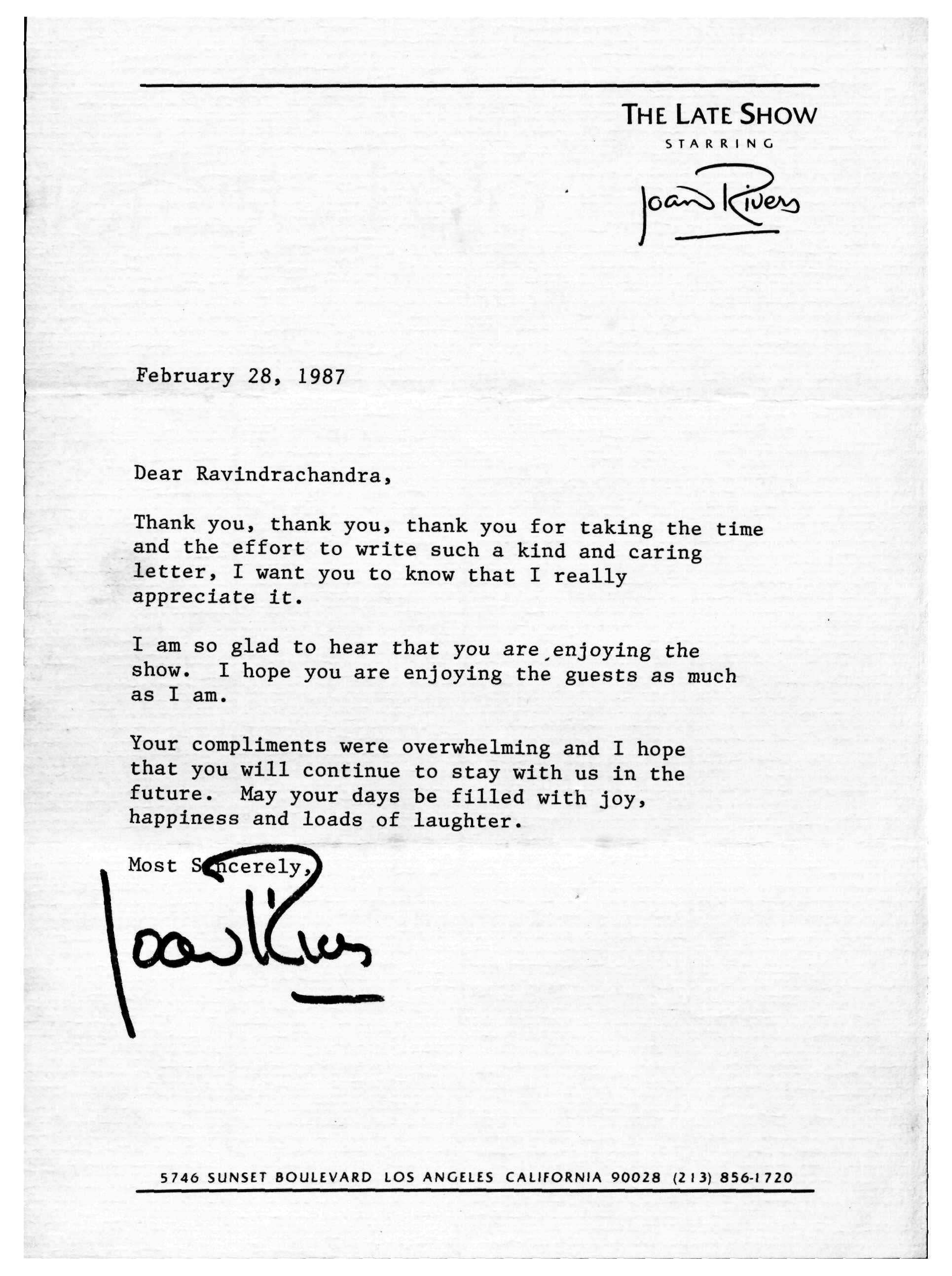 theravireport the ravi report joan rivers responded to my letter in 1987 about her talk show
